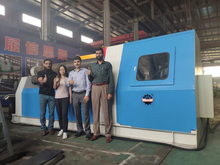 Our customer Mr. Asim, Mr. Ellahi and engineer Mr. Rasool from Pakistan bought 4-roller Rolling Machine from Hoston.